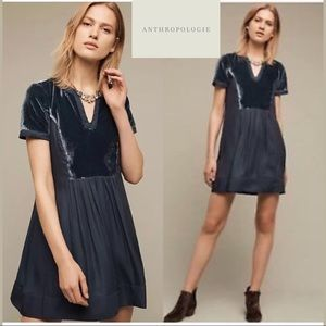 Anthropologie Maeve Silky Velvet Velour Dress
